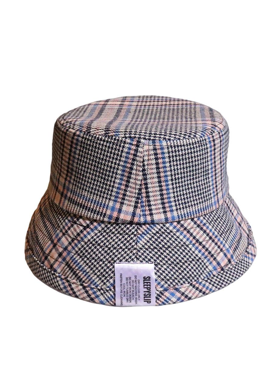 52f9dbf20d1  unisex TARTAN CHECK PINK NAVY BUCKET HAT