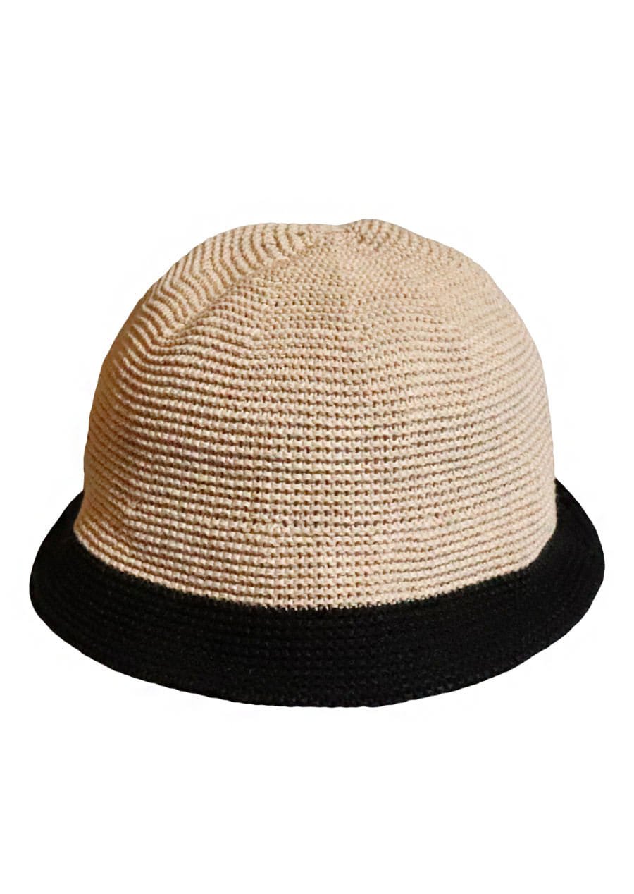 [unisex]BRISBANE BEIGE/BLACK BUCKET HAT
