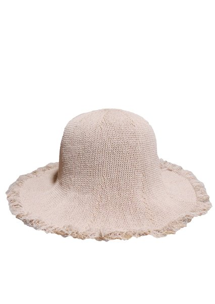 [unisex]LINEN FABRIC BEIGE BUCKET HAT