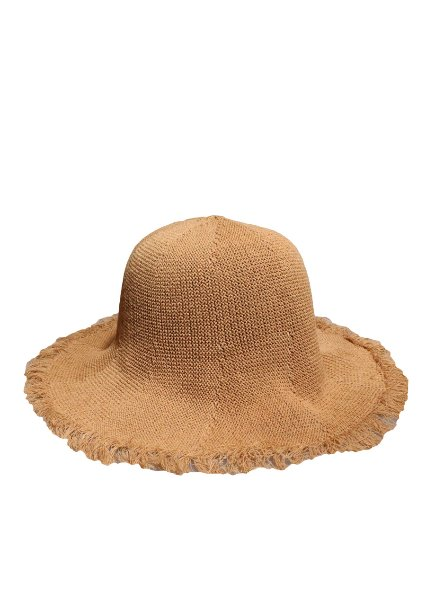 [unisex]LINEN FABRIC BROWN BUCKET HAT