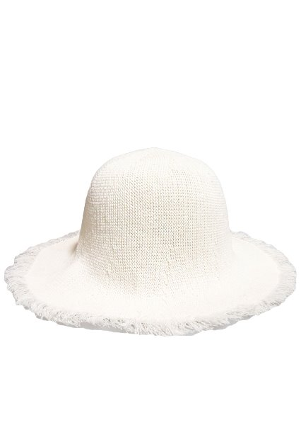 [unisex]LINEN FABRIC WHITE BUCKET HAT