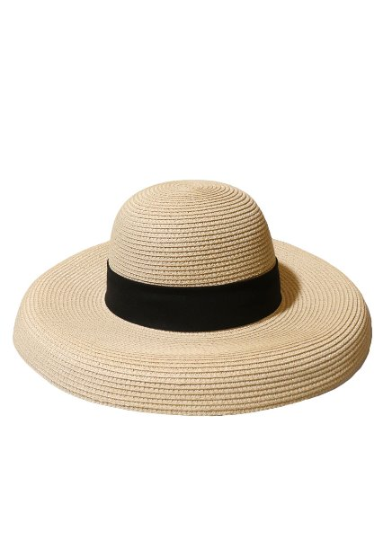[unisex]LORIENT BEIGE WIDE RIBBON HAT